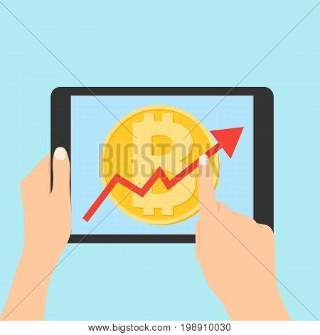 Up graph with bitcoin sign in flat icon design in tablet. flat icon design of uptrend line arrow breaking through bitcoin in tablet. Uptrend line arrow with bitcoin sign in flat icon design