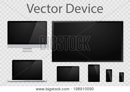 Set of realistic computer monitors, laptops, tablets, TV and mobile phones. Electronic gadgets isolated on transparent background. Device mockup template.