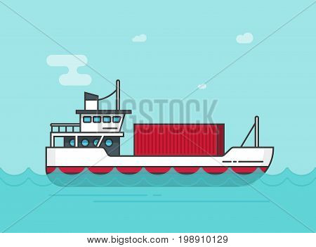 Small cargo ship floating on ocean water vector illustration, flat cartoon shipping freighter boat on sea waves carrying cargo containers line outline, container vessel