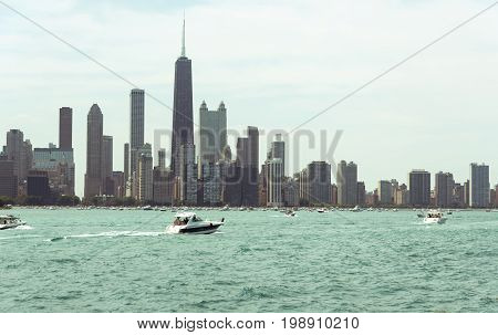 Chicago Downtown Skyline View From A Boat