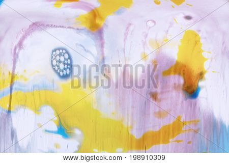 Abstract image of colorful streaks of paint on white background. Watercolor blots of yellow, blue and light purple colors flowing each other