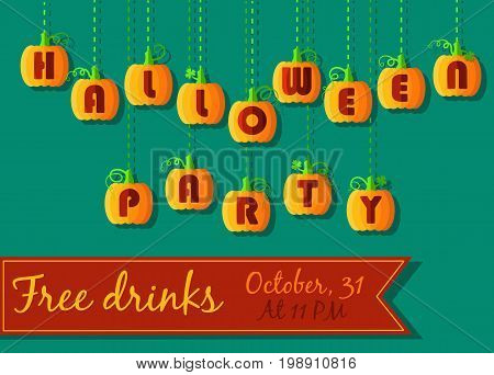Invitation to Halloween Party. Funny pumpkin font. Orange geometric pumpkins with red signs. Jack of the Lantern. red banner for custom text. Vector illustration