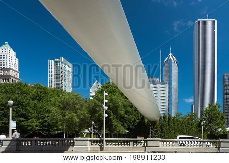 Large white bridge in a Downtown of Chicago