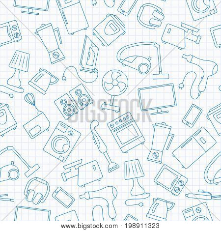 Seamless background with a simple contour icons on the topic of household appliancesblue contour icons on the clean writing-book sheet in a cage
