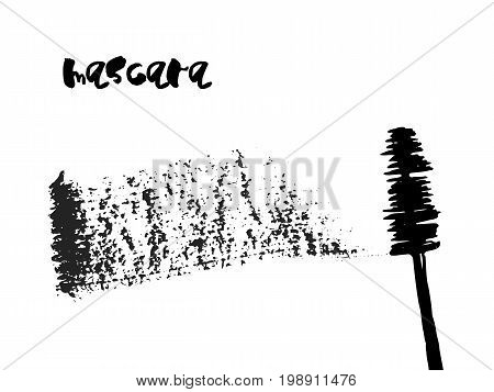 Vector Mascara Brush and with messy stroke. Qualitative trace of real mascara texture. Black cosmetic tool and grey swirl isolated on a white background.