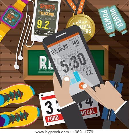 Sport Activity Application In Smartphone With Sport Gears Items In Background Vector Illustration. EPS 10