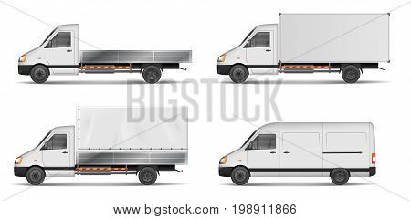 Set of realistic white cargo vehicles. vector illustration with heavy truck, trailer, lorry, Mini bus, delivery van isolated. Side view mockup. EPS 10