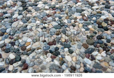 colorful texture of mixed pebble close up