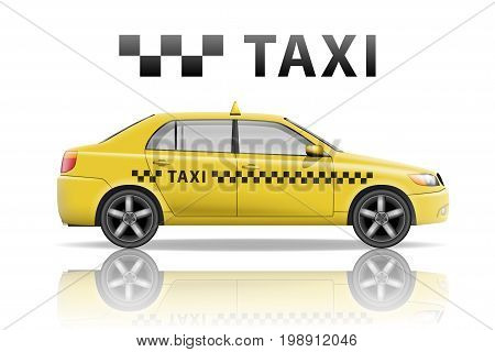 Yellow taxi cab isolated on white background. Realistic city taxi mockup. Vector illustration EPS 10