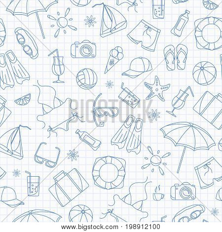 Seamless pattern on the theme of summer holidays in hot countries blue contour icons on the clean writing-book sheet in a cage