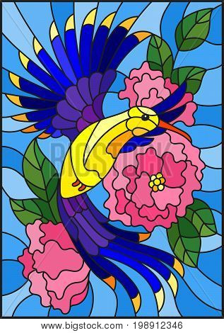 Illustration in stained glass style with a beautiful bright blue bird and the branch of the flowering plant on a blue background