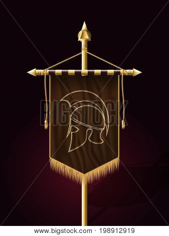 Festive Banner Vertical Flag With Helmet Of Warrior. Wall Hangings With Gold Tassel Fringing. Has Pl