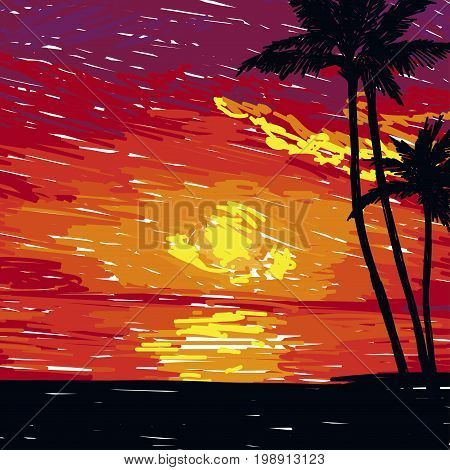 card with tropical paradise, ocean sunset in sketch style, vector illustration