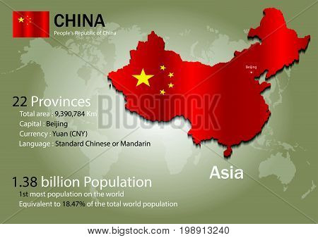 China world map with a country flag texture. World map geography.