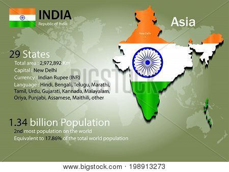 India world map with a country flag texture. World map geography.