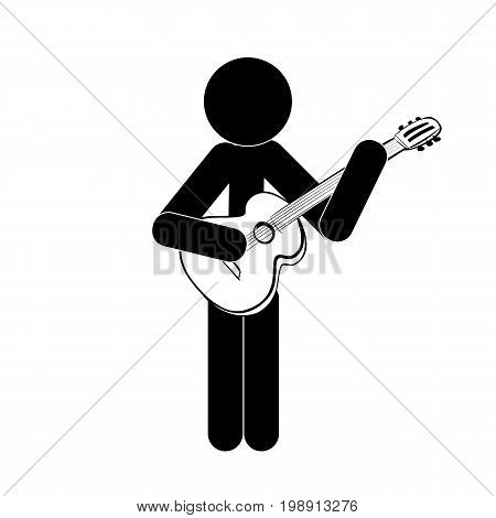 Stick figure man stands and plays the classical guitar icon symbol