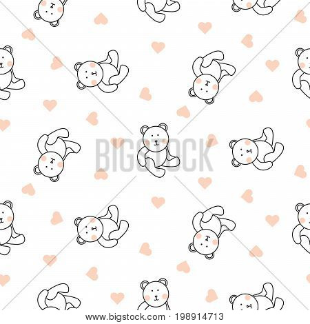 Teddy bear plush seamless vector pattern. Cute kid pajamas white texture with toy bear and heart shapes.