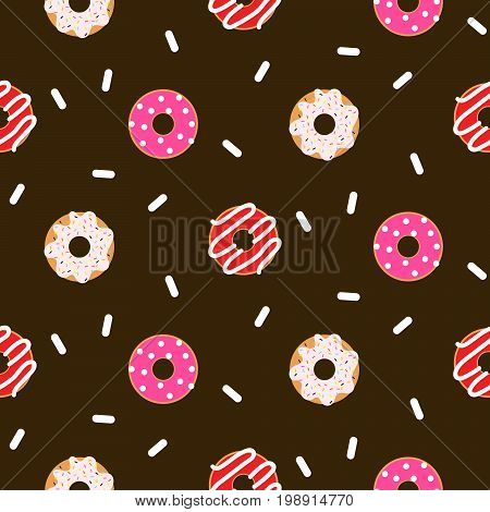 Donut pink glazed seamless chocolate vector pattern. Sweet bakery doughnuts with glaze cream and coconut sprinkles.