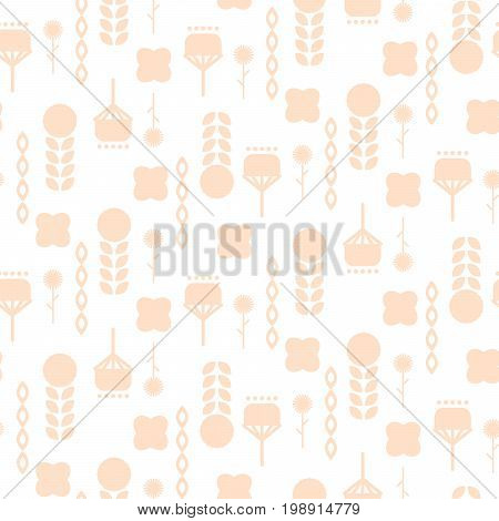 Scandinavian folk pale pink floral art pattern seamless vector. Simple pastel color flowers for print on fabric.