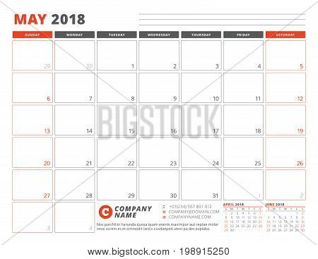 Calendar Planner Template For May 2018. Business Planner Template. Stationery Design. Week Starts On
