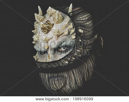 Alien With Dragon Skin And Grey Beard.