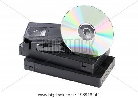 Video Cassette Tapes And Cd Disk Isolated On White Background