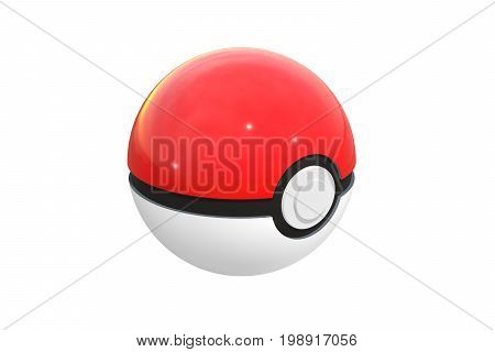 Editorial illustration: 3d render of pokeball isolated on a white background. Pokeball is an equipment to catch in Pokemon Go, the most successful augmented reality game. Red and black ball.