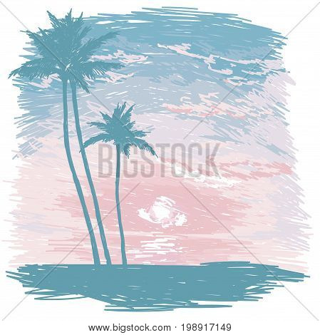 poster with tropical paradise, ocean sunrise or tender sunset in sketch style, vector illustration