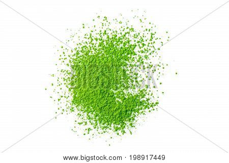 heap of green matcha tea powder isolated on white background view from above flat lay backgrounds