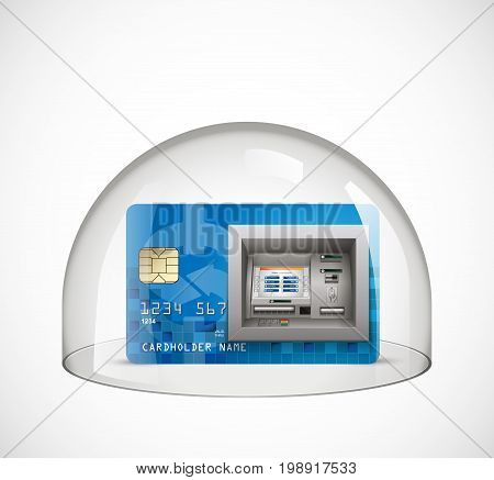 Glass dome - protection concept - credit card