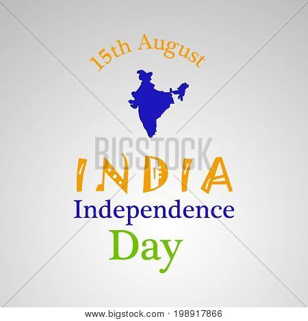 illustration of 15th August India Independence Day text with India map on the occasion of India Independence Day
