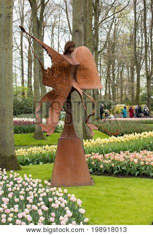 LISSE NETHERLANDS - APRIL 19 2017: Visitors at the Keukenhof Garden in Lisse Netherlands.