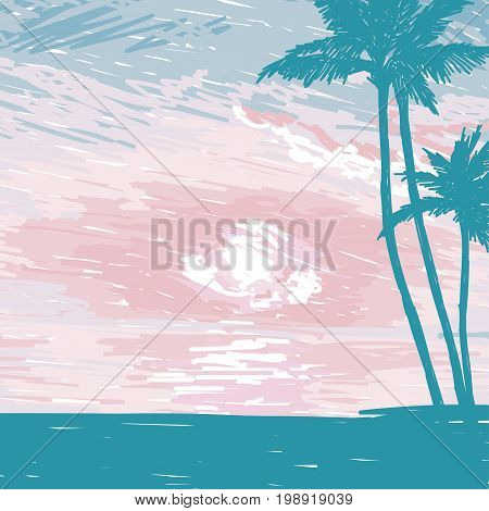 Silhouette of the man with a surfboard at tropical sunrise or tender sunset, promo banner for surf club, sketch style vector illustration