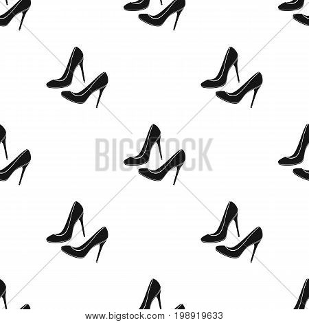 Shoes with stiletto heel icon in black desgn isolated on white background. France country symbol stock vector illustration.