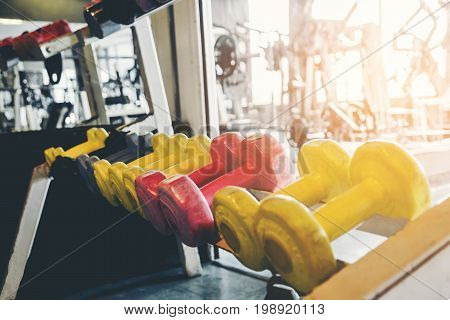 Rows of dumbbells in the gym concept