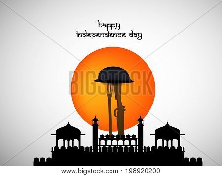 illustration of happy Independence day text with rifle in hat, fort and button on the occasion of India Independence Day