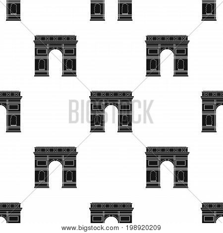 Triumphal arch icon in black design isolated on white background. France country symbol stock vector illustration.