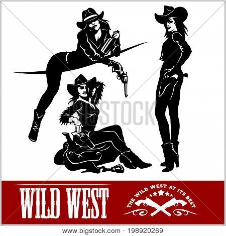 Silhouettes of Western Cowgirls. Vector Illustration - isolated on white