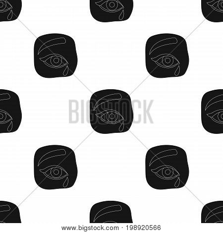 Weepping icon in black design isolated on white background. Funeral ceremony symbol stock vector illustration.