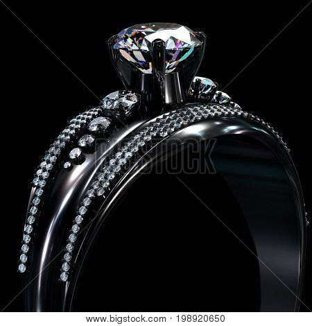 Black gold engagement ring with diamond gem. Luxury jewellery bijouterie with rhodium or ruthenium coating with gemstone on black background. 3D rendering