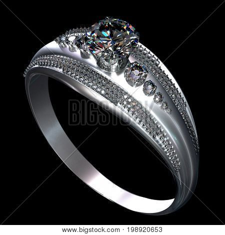 Silver or platinum engagement ring with diamond gem. Luxury jewellery bijouterie from white gold with gemstone. Sparkles are on diamonds. 3D rendering on black background.