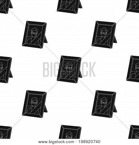 Portrait of deceased person icon in black design isolated on white background. Funeral ceremony symbol stock vector illustration.