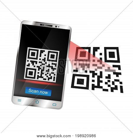 Smartphone scans the QR code for purchase