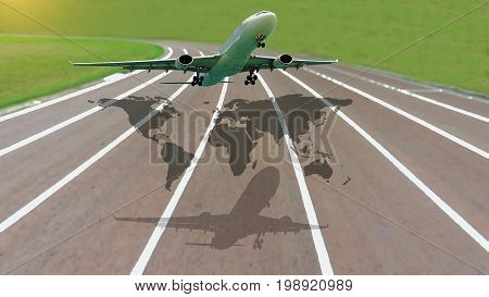 plane taking off from airport runways for traveling and transport business