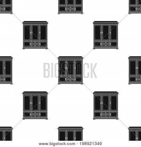 Classical cupboard icon in black style isolated on white background. Furniture and home interior symbol vector illustration.