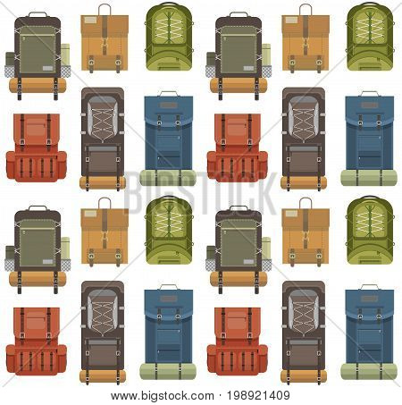 Colorful camping modern backpack seamless pattern in flat design on white background. Tourist retro back packs. Classic styled hiking backpacks with sleeping bags. Detailed illustration.