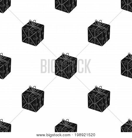 A blue gift box with a bow.Gifts and Certificates single icon in black style vector symbol stock web illustration.