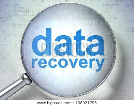 Information concept: magnifying optical glass with words Data Recovery on digital background, 3D rendering