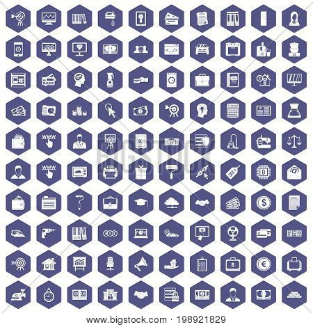 100 lending icons set in purple hexagon isolated vector illustration