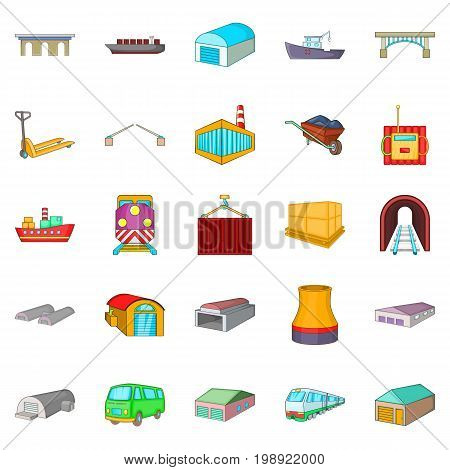 Industry icons set. Cartoon set of 25 industry vector icons for web isolated on white background
